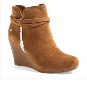 Ugg Alexandra Wedge Fur Trim Ankle Booties